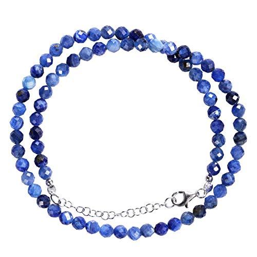 Kyanite - Collar de piedras preciosas AA de cianita azul natural facetada con cuentas redondas de 5 mm genuina kyanita collar de piedras preciosas hecho a mano