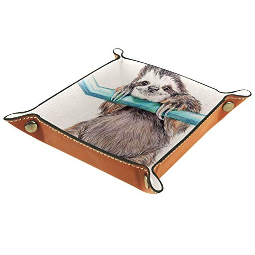 YATELI Small Storage Box,mens valet tray,A Sloth Hanging from a Pole,Leather Catchall Organizer for Coin Box Key Jewelry