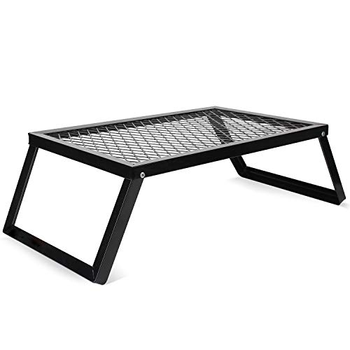 Folding Campfire Grills, Heavy Duty Iron Steel Grate, Portable Over Fire Camp Grill for Outdoor Table Backpacking Hiking Traveling Picnic BBQ
