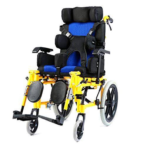 Silla de ruedas para niños plegable y liviana Conducción médica, parálisis cerebral Silla de ruedas para niños Coche multifuncional para discapacitados Cochecito para silla de ruedas de cama plana