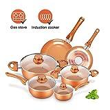 KUTIME 10pcs Cookware Set Pot and Pan Set Non-stick Frying Pans Set Ceramic Coating Soup Pot, Milk...