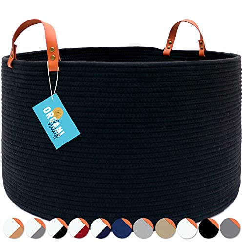"""OrganiHaus XXL Extra Large Cotton Rope Basket with Real Leather Handles 