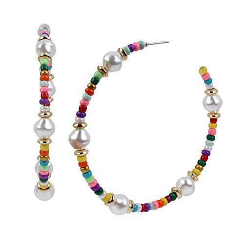 Pendientes de aro de perlas mezcladas
