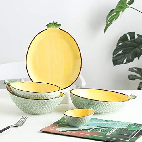 XBR Juegos de vajilla, vajilla de cerámica, 20 Piezas de vajilla de Porcelana con Forma de piña/Juegos de Platos y Cuencos Pintados a Mano para Regalos de Boda y Apto para microondas