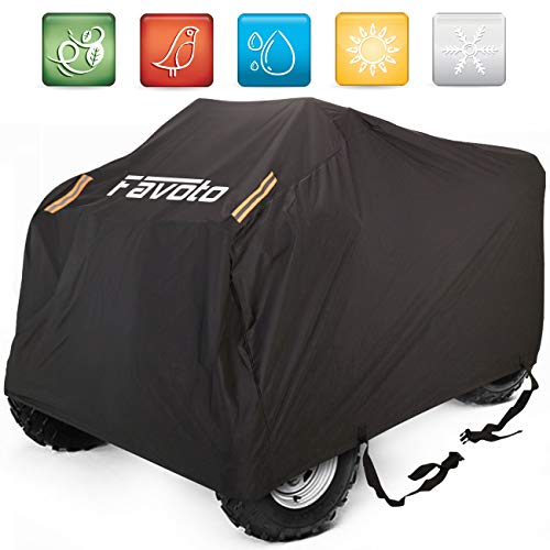 "Favoto Waterproof ATV ATC Cover Quad Bike 4 Wheeler Cover,102"" L x 44"" W x 48"" H, Universal Fit, Dust Sun Wind Rain Leaves Outdoor Protection, Durable Night Reflective Strips with Carrying Bag"