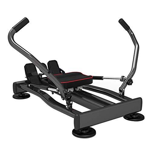 XBSLJ Rudergeräte klappbar Faltbare Sitzbank Fitness Smart Home Faltbare Fitnessgeräte Rudergerät für den Innenbereich Tragendes 110-kg-Mini-Rudergerät Rückenlage-Trainingsgeräte Schwarz