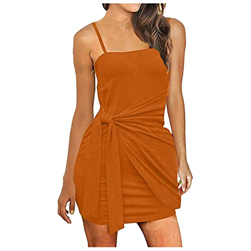 FQZWONG Women's Sexy Bandage Ribbed Dress Slim Fit Sleeveless Pleated Bow Belt Skirt for Dating Holiday Daily(A-Orange,X-Large)