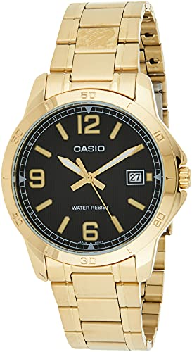 Casio MTP-V004G-1B Men's Dress Gold Tone Stainless Steel Black Dial Analog Date Watch