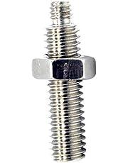 Doble Uso Tornillo de 1/4 y 3/8 del adaptador masculino del tornillo para la cabeza de la bola del trípode de Monopod Chrome 1pc