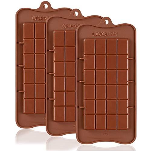 Amazon Brand – Umi - 3er Pack - Schokoladenform, Pralinenform, Schokoriegel, Antihaft-Silikon, Schokolade selbst gemacht, BPA-Frei
