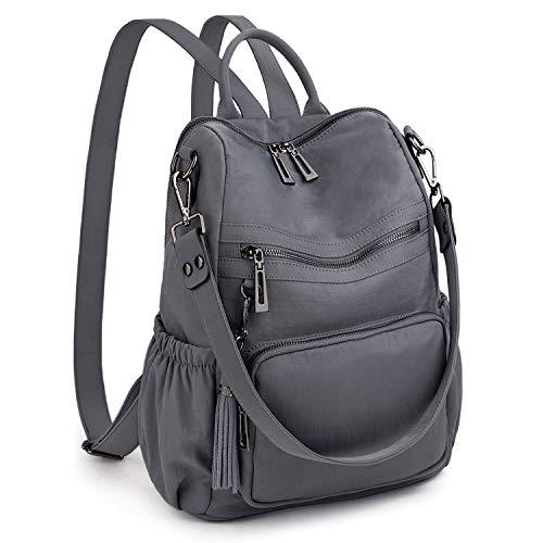 UTO Women Backpack Purse Convertible Ladies Rucksack Tassel Shoulder Bag Lightweight Nylon Fabric Grey