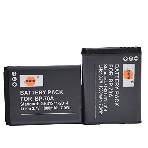 DSTE 2-Pack Ersatz Batterie Akku for Samsung BP-70A EA-BP70A ST30 ST60 ST61 ST65 ST66 ST67 ST70 ST71 ST72 ST76 ST80 ST90 ST93 ST95 ST100 ST150F ST700 ST6500 SL50 SL600 SL605 SL630 TL105 TL110 TL205 WB30F WB35F WB50F WP10 Kamera
