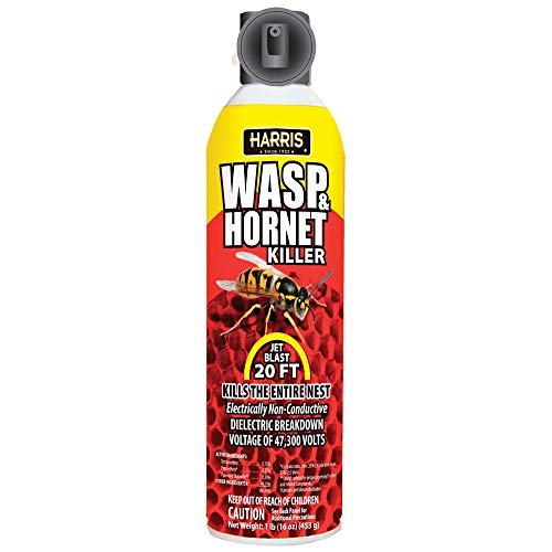 HARRIS Wasp, Hornet, Yellow Jacket and Bee Killer Spray, 20 Foot Stream, 16oz