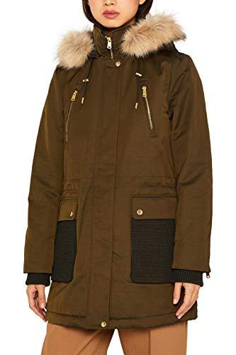 ESPRIT Damen 099Ee1G011 Parka, Grün (Dark Khaki 355), Large (Herstellergröße: L)