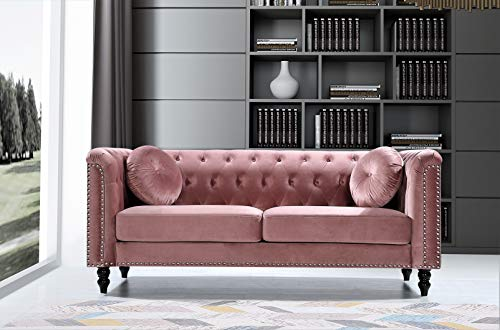 US Pride Furniture Connally Chesterfield 76' Rolled Arms Sofas, Rose