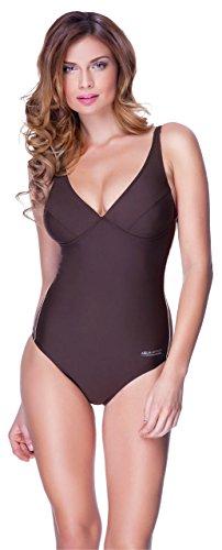 Aqua Speed® Grace Donna Costumi da Bagno (36-44 Coppe Estraibili Leggero Elastico Protezione UV Estensibile), Colore:Brown/Beige;Taglia:42