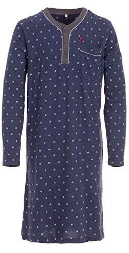 Henry Terre Herren Nachthemd Langarm mit Brusttasche, Farbe:Blau, Größe:XXL