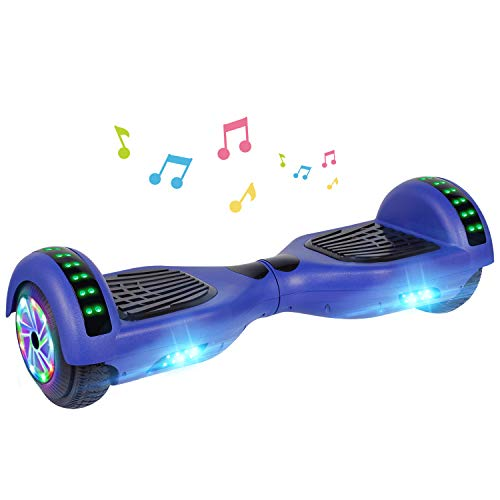 UNI-SUN Bluetooth Hoverboard for Kids, 6.5' Two-Wheel Self Balancing Hoverboard with Bluetooth and LED Lights, Electric Scooter for Adult, Blue
