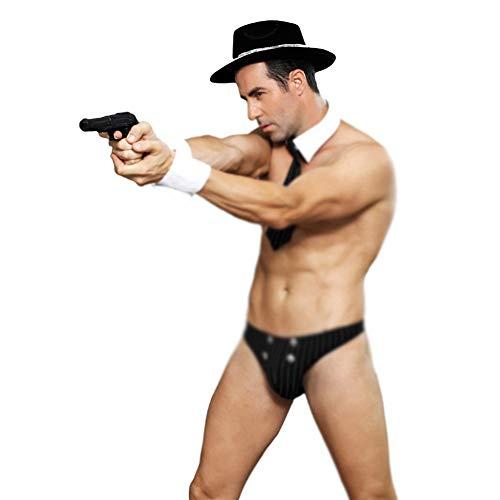 Sexy Dessous Black Cop Kostüme Halloween für Männer Game Stage Bar Cosplay Spaß Uniform Versuchung.Mens Erotic Tangas Unterwäsche