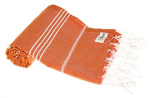 Bersuse Toalla turca Anatolia 100% algodón, Color Naranja Oscuro