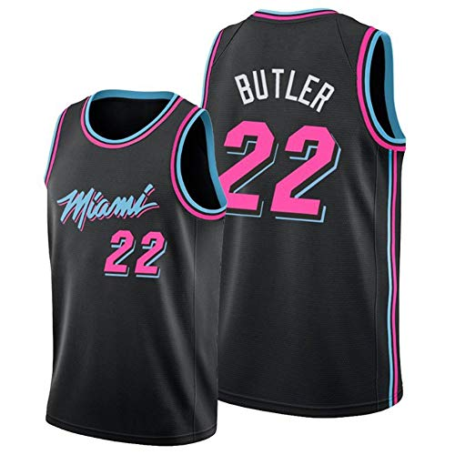 WU NBA Jersey Jimmy Butler 22# Miami Heat Quick Dry Breathable Men's Basketball Clothes,XXL Bl