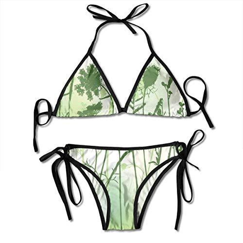 Frauen Real Grass Silhouette Zwei Farben Zweiteiler Bikini Set Badeanzug Bikinis Anzug für Frauen