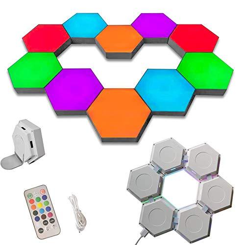 Hexagon Wandleuchte Mit Fernbedienung, Smart Modular Touch-Sensitive LED Licht Wandpaneele RGB Nachtlicht DIY Geometrie Spleißen Hex Licht Für Schlafzimmer Wohnzimmer Flur Party Dekor,20 lamps