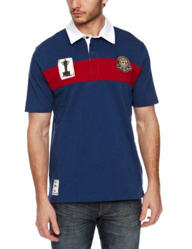 RBS Six Nations Heritage Maillot de Rugby à Manches Courtes pour Homme Bleu Navy/Dark Red Moyen