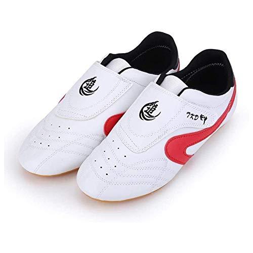 JINFAN Tai Chi Schuhe Für Frauen Männer Atmungsaktive Schuhe Taekwondo Karate Kung Fu Kampfschuhe Frau Kampfkunst Männer Erwachsene Und Kinder Weiche Tai Chi Turnschuhe,Red-37EU