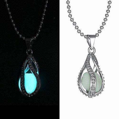 Glow in The Dark Dragon Egg, Mermaid Tear, Glowing Necklace, Glow in The Dark Tear Drop Necklace, Dainty Necklace, Blue Green Aqua, UV Light