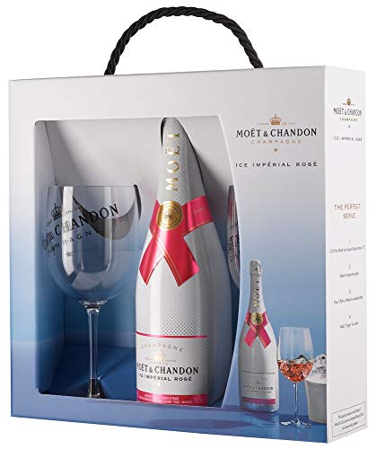 Moet & Chandon Ice Rosé Impérial Geschenk Set Champagner & 2 x Moët & Chandon Champagne Flutes (1 x 0.75 l)
