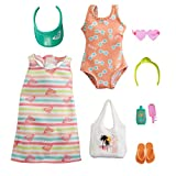 Barbie Storytelling Fashion Pack of Doll Clothes Inspired by Roxy: Striped Dress, Roxy Swimsuit & 7 Beach-Themed Accessories Dolls Including Frozen Treat, Gift for 3 to 8 Year Olds