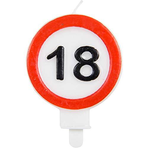 Vela de cumpleaños Party Collection vela 18 en forma de señal de tráfico 6x8.5cm