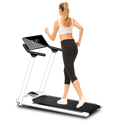 Woodtree Foldable Treadmills for Home Under Desk Electric Treadmill Workout Running Machine Portable Compact Treadmill with 4 Pre Set Programs high-Definition Screen Treadmill