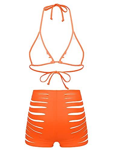 CHICTRY Women Bikini Set Swimsuit Two Piece Bra Tops with High Waist Cutout Boyshort Bathing Suit Orange L