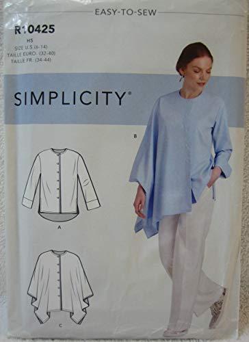 Simplicity Schnittmuster R10425 – Damen-Shirt mit Ärmeln, Saum und asymmetrischen Drapier-Variationen Größe H5 (34-38-38-40)