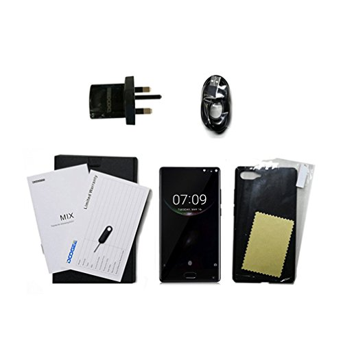 002fr DOOGEE MIX Cámara dual 5.5 pulgadas sin marco 4G Smartphone para Android 7.0 enchufe británico negro enchufe 4+64G