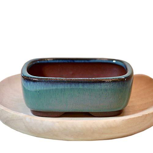xiangshang Shangmao Rechteckiger chinesischer Bonsai-Topf dunkelgrün glasierter Übertopf