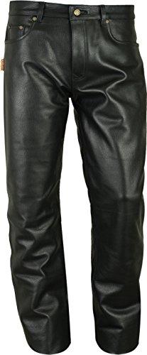 Fuente, pantaloni in pelle lisci da uomo e da donna, lunghi – Jeans in vera pelle 501 nero – Jeans da motociclista – 1A qualità bovina – taglie forti 50 pollici Nero 30W x 34L
