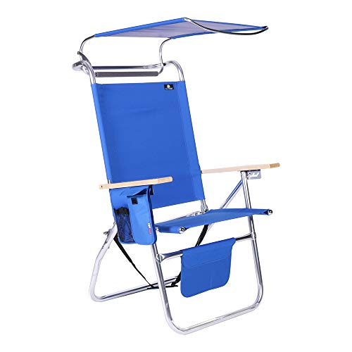 17 Inches High Seat Big Tycoon Aluminum Beach Chair with Canopy
