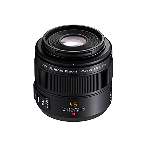 Panasonic H-ES045E LEICA DG ELMARIT Makro 45 mm F2.8 ASPH. Objektiv (Hochleistungs-Makro Objektiv, 90 mm KB, O.I.S.) schwarz