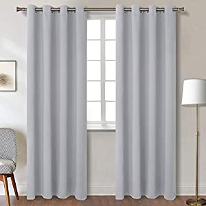 BGment Cortinas Opacas para el Dormitorio con Ojetes Cortina con Aislamiento Térmico para Salon, 140 x 245 cm (An x Al), 2 Paneles, Gris Claro