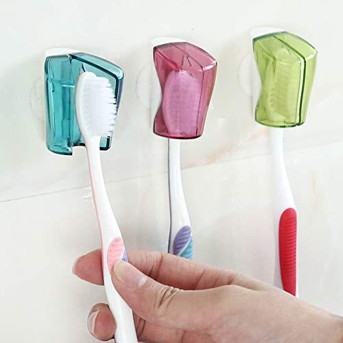 NAttnJf Lovely Ladybug casa ba/ño de succi/ón taza de la pared montado cepillo de dientes soporte rack stand Red