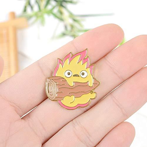 Cartoon kleine Flamme hält Brennholz Spiel Tier Anpassung Pin Legierung Brosche Anstecknadel Ausschnitt Schmuck Geschenke für Kinder