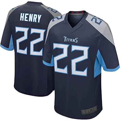 Herren Rugby Trikot - 22# Derrick Henry Tennessee Titans Damen American Football Trikot Mesh Schnelltrocknende Fans Sweatshirt Navy Player Game-L