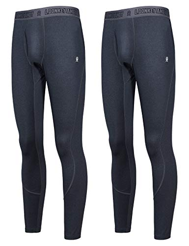 Little Donkey Andy Men's Thermal Long Johns 2 Pack Quick Dry Wicking Lightweight Base Layer Winter Warm Underwear Bottom with Fly Black/Black L