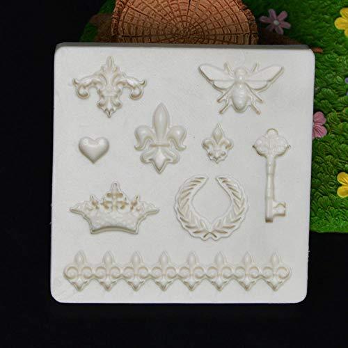 Silikonformen Form Craft Diy Bee Key Crown Dekorative Muster Form Silikonform Kuchen Dekoration Fondant Kuchen 3D Form Seifenform