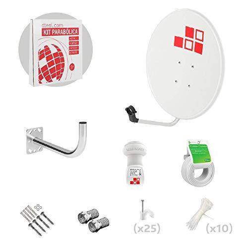 Diesl.com - Kit Antena parabolica de Television satélite Digital - 60cm + LNB Single 4k + Soporte + 20 Metros de Cable + Tacos a Pared + Conectores + 10x Bridas
