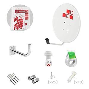 Diesl.com - Kit Antenas parabólicas de televisión satélite Digital - 60cm + LNB + Soporte + 20 Metros de Cable + Tacos a Pared + Conectores + 10x Bridas