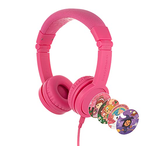 BuddyPhones Explore+, Volume-Limiting Kids Headphones, Foldable and Durable, Built-in Audio Sharing Cable with in-Line Mic, Best for Kindle, iPad, iPhone and Android Devices, Rose Pink